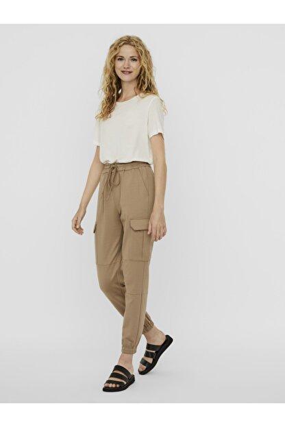 Vero Moda Kadın Bej Paçası Lastikli Kargo Pantolon 10233502 VMEVA