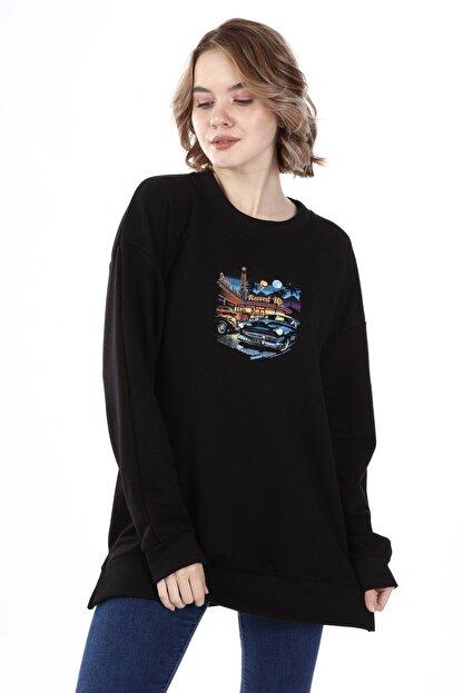 Millionaire Kadın Siyah Yırtmaçlı Revved Up Baskılı Oversize Sweatshirt