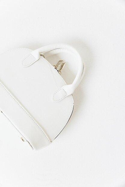 Moon Çanta Kadın Beyaz Mini D Model El Çantası