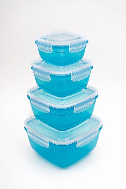 CASA ROYALE Alpfahome Aqua Mavi Sızdırmaz Saklama Kabı Seti - 8 Parça Kare Set