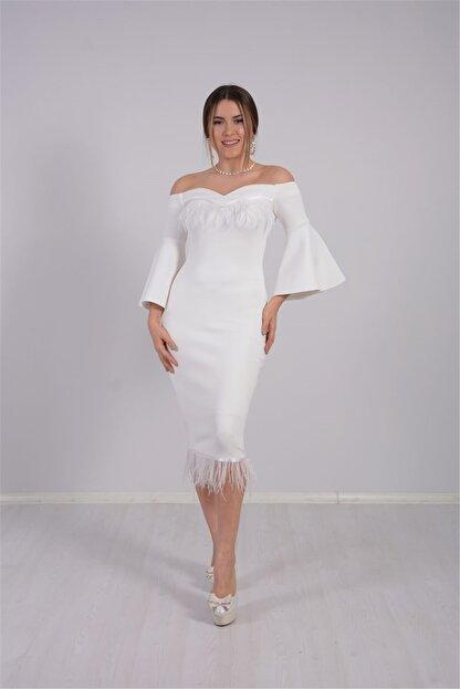 giyimmasalı Kadın Beyaz Krep Kumaş Tüy Detaylı Tasarım Elbise