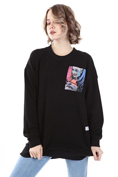 Millionaire Kadın Siyah Harley Quinn Baskılı Oversize  Sweatshirt
