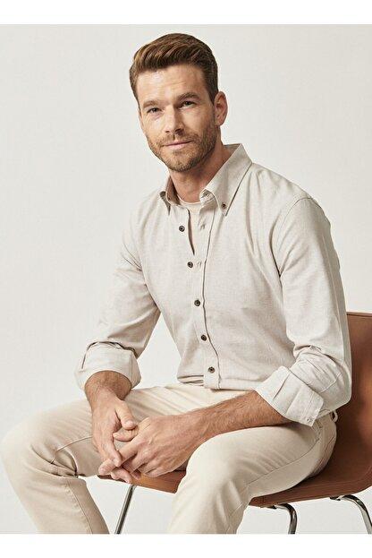 Altınyıldız Classics Erkek Bej Düğmeli Yaka Tailored Slim Fit Oxford Gömlek