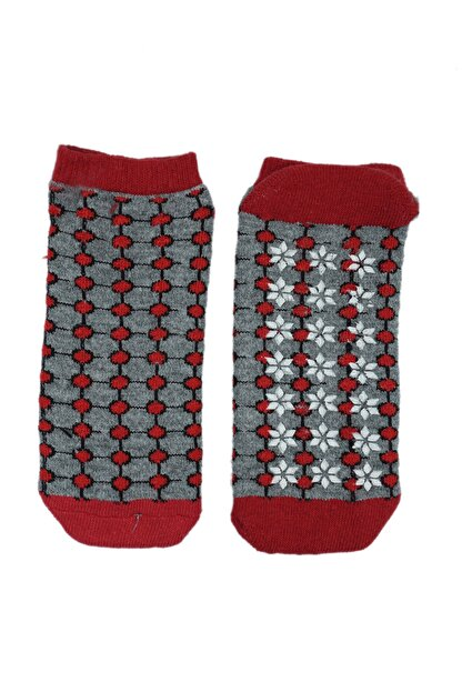 NZR GROUP Kadın Kırmızı Termal Çorap Poffy Kaydırmaz Tabanlı
