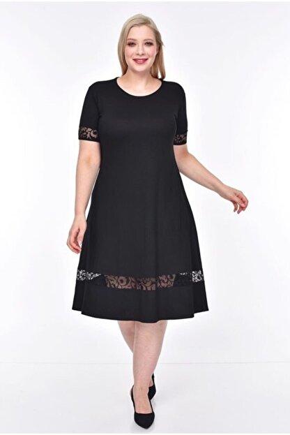 Şirin Butik Kadın Siyah Şerit Tül Detaylı Esnek Viskon Kumaş Elbise