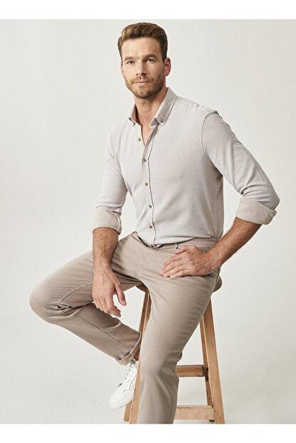 Altınyıldız Classics Erkek Bej 360 Derece Her Yöne Esneyen Düğmeli Yaka Örme Tailored Slim Fit Gömlek