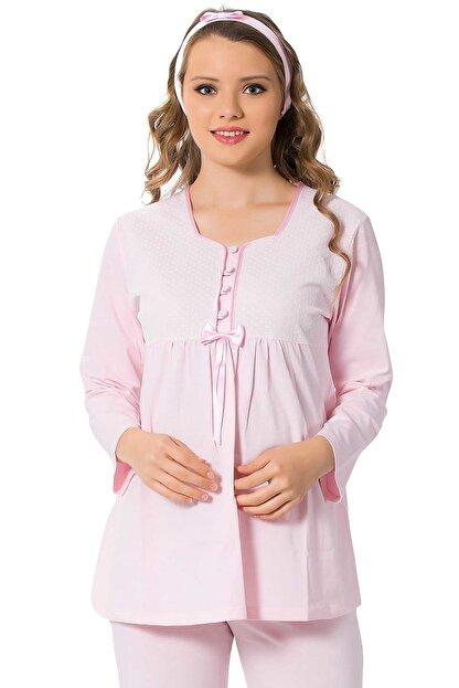 ALİMER Kadın Pembe Hamile Lohusa Emzirme Pijama Takımı