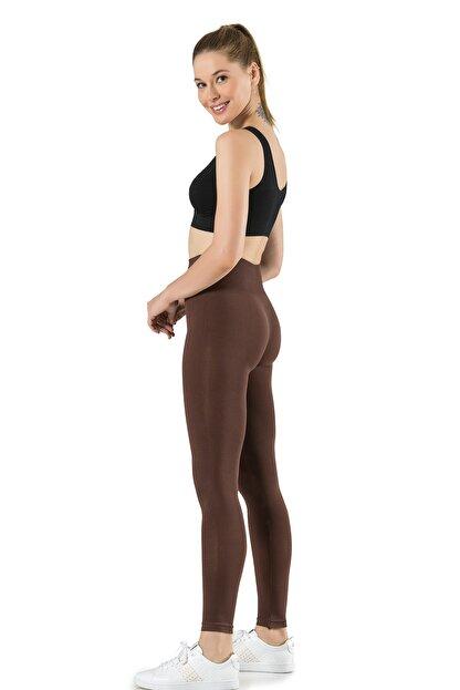 Miss Fit Kadın Kahverengi Dikişsiz Basic Tayt Günlük Kullanım Örme Seamless