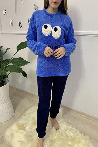 Sude Kadın Mavi Desenli Welsoft Pijama Takımı
