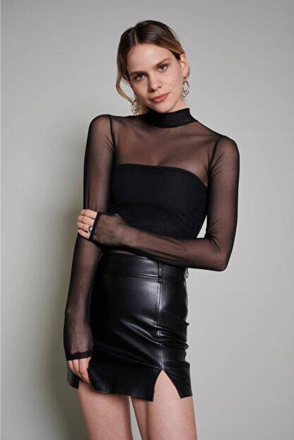 Zechka Kadın Siyah Boğazlı Tül Bluz