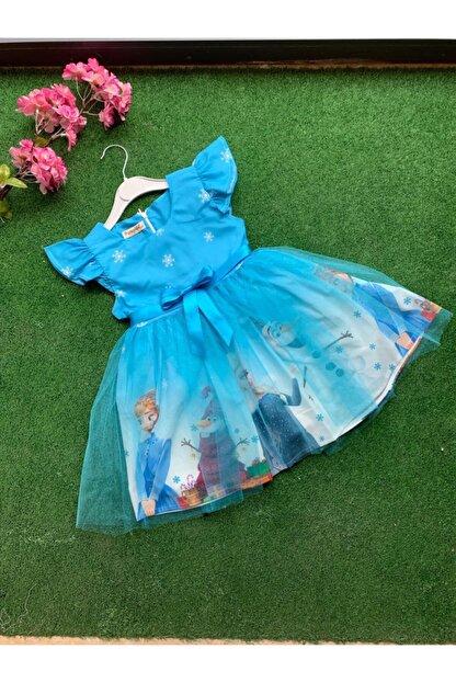 STELLA BUTİK Kız Çocuk Mavi  Elsa Elbise