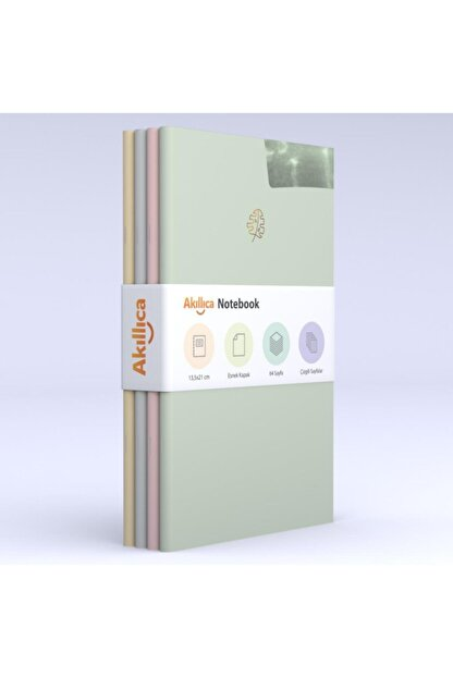 AKILLICA Notebook 4'lü Defter Set Soft Çizgili Pastel Notebook 13,5x21 Cm