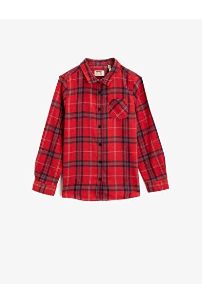 Koton Kız Çocuk Kırmızı Kareli Klasik Yaka Cepli Uzun Kollu Ekose Gömlek