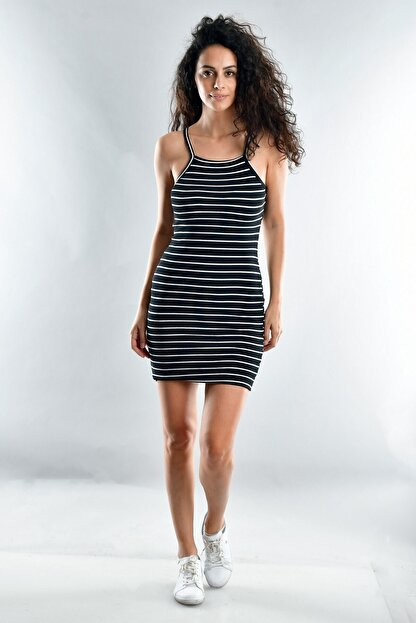 Cotton Mood Kadın Siyah Beyaz Kaşkorse İp Askılı Elbise  20071620