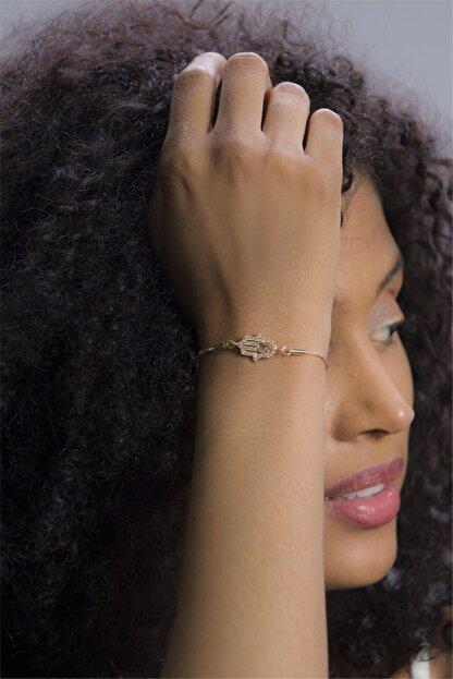 Sortie Aksesuar Kadın Altın Rengi Fatma Ananın Eli Figürlü Zirkon Taşlı Asansörlü Bileklik 105