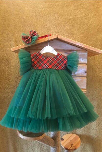 Bremen Kız Çocuk Yeşil Ekoseli Tüllü Yılbaşı Elbisesi