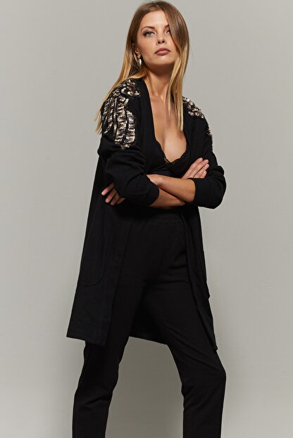 Cool & Sexy Kadın Siyah Omuzları Payetli Hırka PKA723
