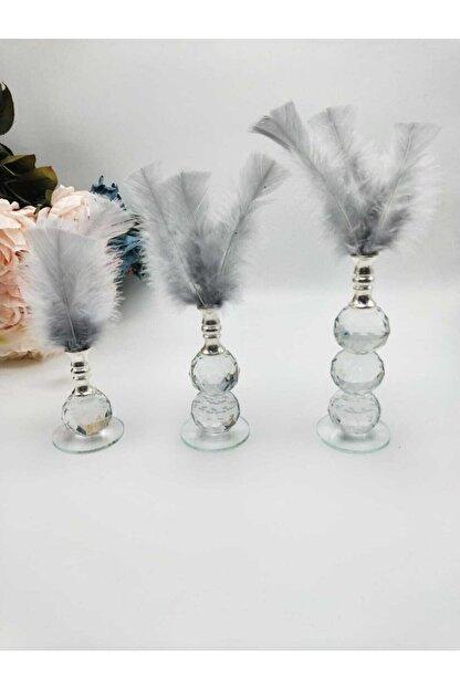 ZEKAAVM Üç Adet Gri Tüylü Kristal Cam Dekor Ürünü