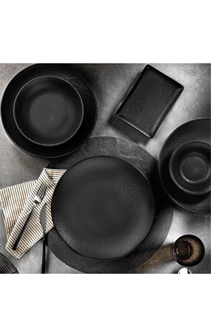 Kütahya Porselen 6 Adet Siyah Servis Tabağı