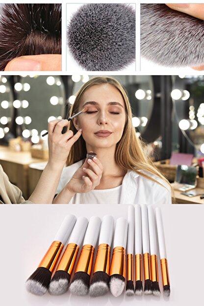 Xolo Profesyonel 10'lu Fiber Makyaj Fırça Seti Fondöten Far Kapatıcı - Beyaz