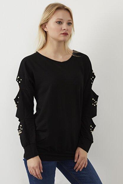 ELBİSENN Kadın Siyah Kol Dekolteli İncili İki İplik Sweatshirt