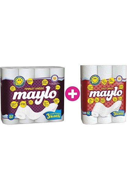 Maylo Tuvalet Kağıdı 3 Katlı 32 Li Paket+ 12 Li Kağıt Havlu (3 Katlı)
