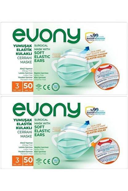 Evony 3 Katlı Filtreli Burun Telli Cerrahi Maske 100 Lü Set (yumuşak Elastik Kulaklı)