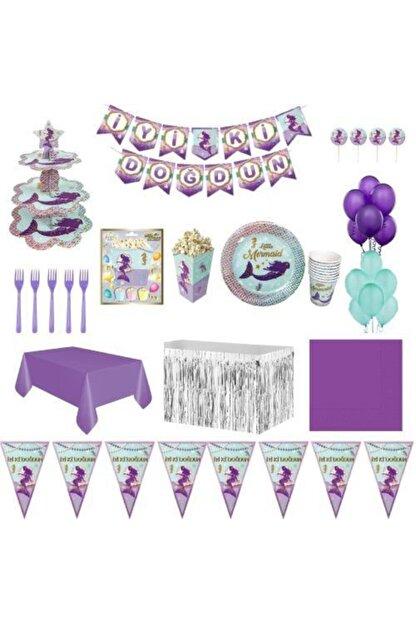 Parti Furyası Deniz Kızı Lüks Doğum Günü Parti Malzemeleri Seti Süs 16 Kişilik