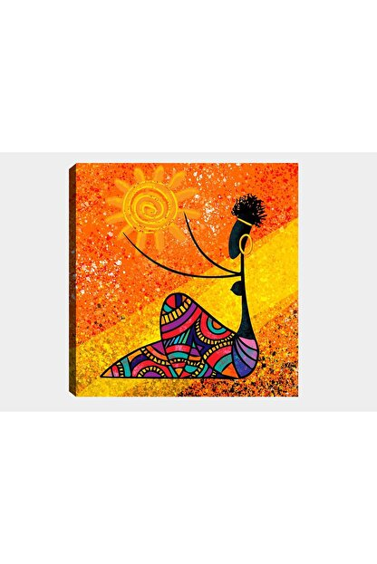 Shop365 Renkli Afrikalı Kız Kanvas Tablo 45 X 30 Cm Sb-40768
