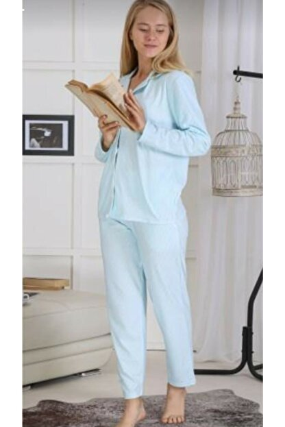 Pijamoni Kadın Mavi Süet Tarz Pijama Takımı