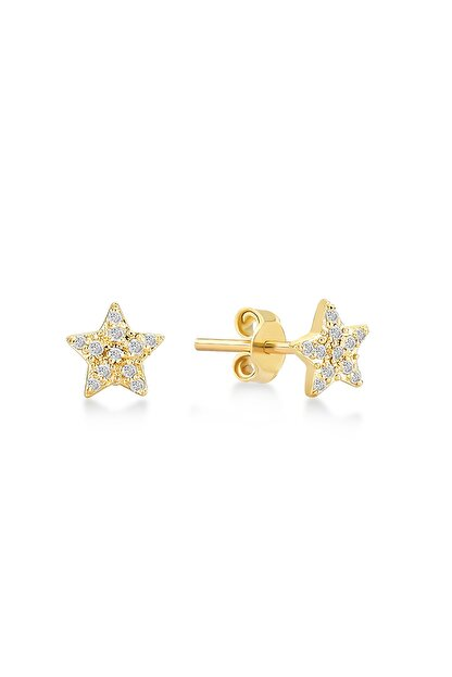 Gelin Pırlanta Kadın Altın 14 Ayar Pırlantalı Yıldız Küpe GLN300103