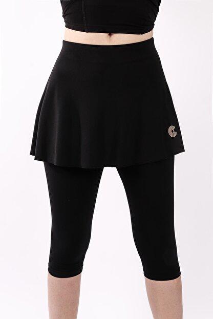 COURTMAX 3/4 Capri Taytlı Tenis Eteği Siyah