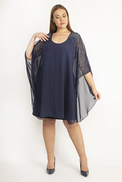 Şans Kadın Lacivert Şifon Pelerinli Taş Detaylı Abiye Elbise 65N19790