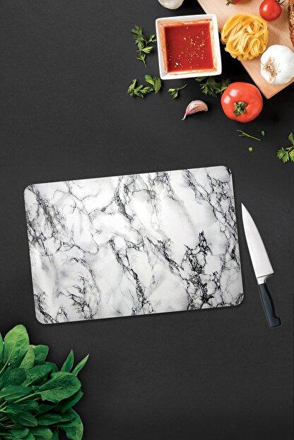 Decorita Beyaz Mermer Görünümlü | Cam Kesme Tahtası | 30cm X 40cm