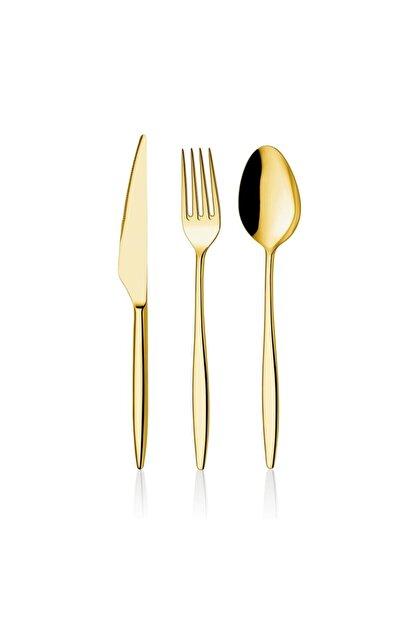 ÖZ Fırat Titanyum Gold Gold Tatlı Kaşığı 6 Adet Yakut