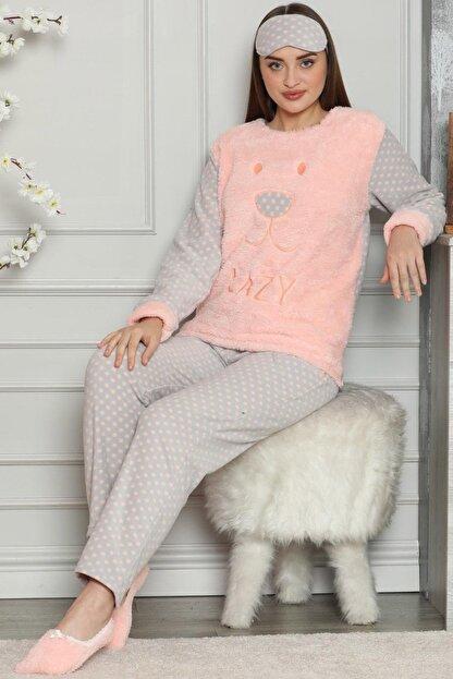 Pijamaevi Kadın Somon Somon Lazy Desenli Kadın Peluş Pijama Takımı