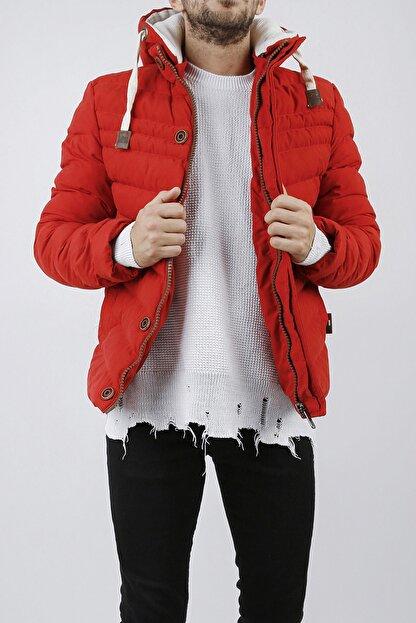 XHAN Erkek Kırmızı Kapüşonlu Comfort Slim Fit Şişme Mont 0yxe4-44076-04