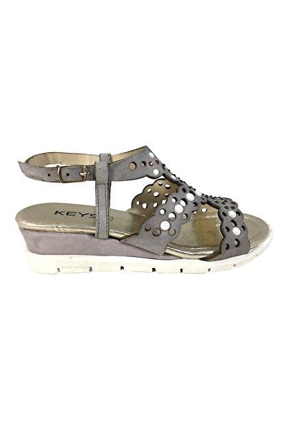 Keys Kadın Hakiki Deri Sandalet Mat Gri