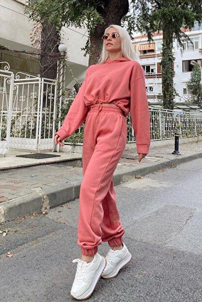SwistLuxury Kadın Pembe Kapüşonlu İçi Pamuklu 3 İplik Eşofman Takımı 40011