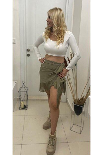 Simoki moda Kadın Haki Püsküllü Mini Etek