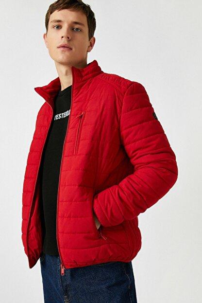 Koton Erkek Kırmızı Dik Yaka Cepli Ince Mont 1KAM21087LW