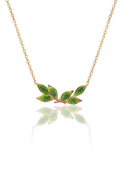 Söğütlü Silver Gümüş Rose Mineli Zeytin Yaprağı Kolye
