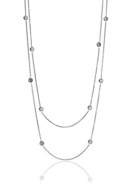 Söğütlü Silver Gümüş Rodyumlu Zirkon Sıra Taşlı Kolye