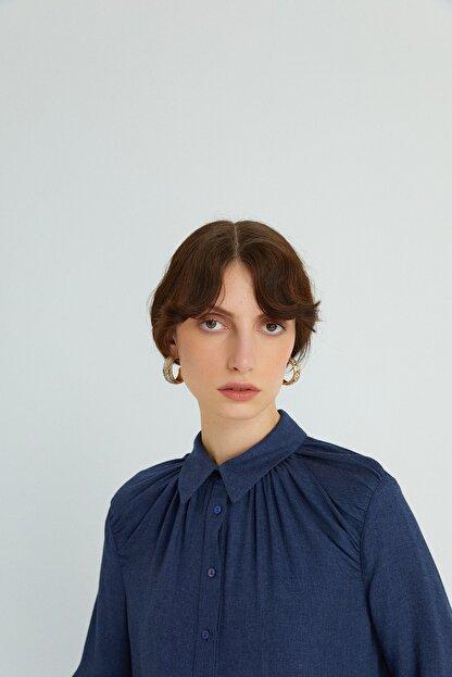 Rue Kadın Lacivert Dökümlü Drapeli Gömlek 21102079