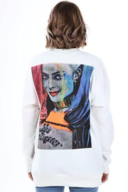 Millionaire Kadın Ekru Harley Quinn Baskılı Oversize Sweatshirt
