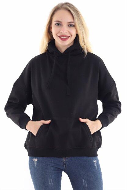 boffin Kadın Siyah İçi Pamuklu Oversıze Sweatshirt