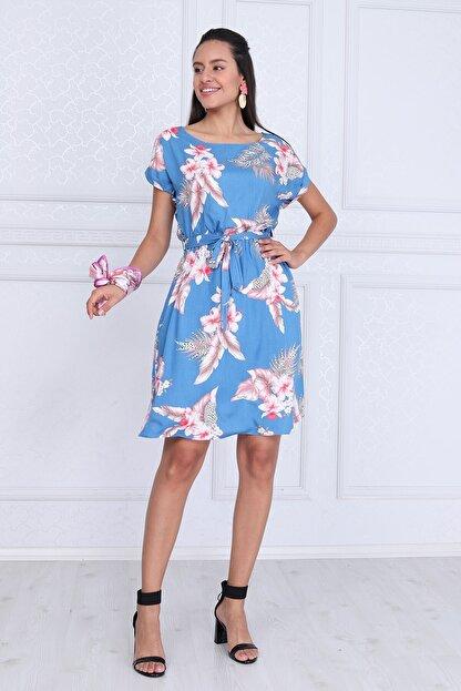 Cotton Mood Kadın Mavı Çıçeklı VisDesenli Beli Lastikli Yarasa Kol Elbise 9343431