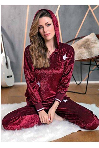 Anıl Kadın Bordo Kışlık Kapüşonlu Pijama Takımı