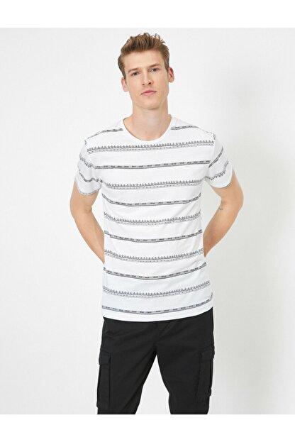 Koton Erkek Beyaz Çizgili T-Shirt 0YAM14911OK