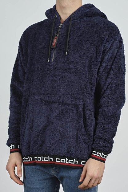 XHAN Lacivert Kanguru Cepli Peluş Sweatshirt 1KXE8-44270-14